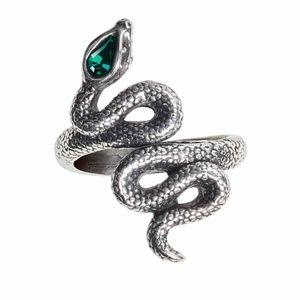 Alchemy Garden of Eden Serpent Ring Green Crystal